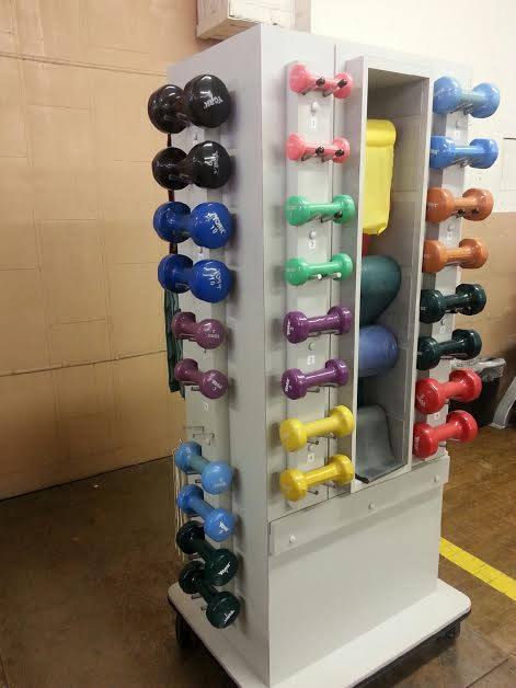 MOBILE WEIGHT RACK W/ DUMBBELLS