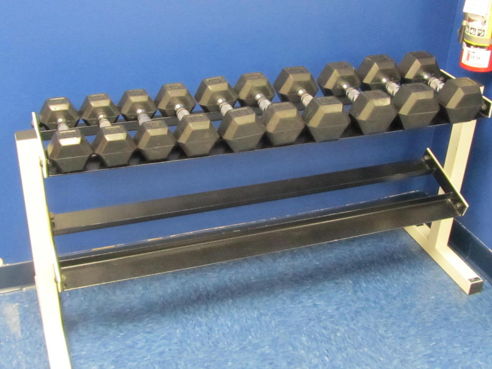 DUMBELLS W/ WEIGHT RACK