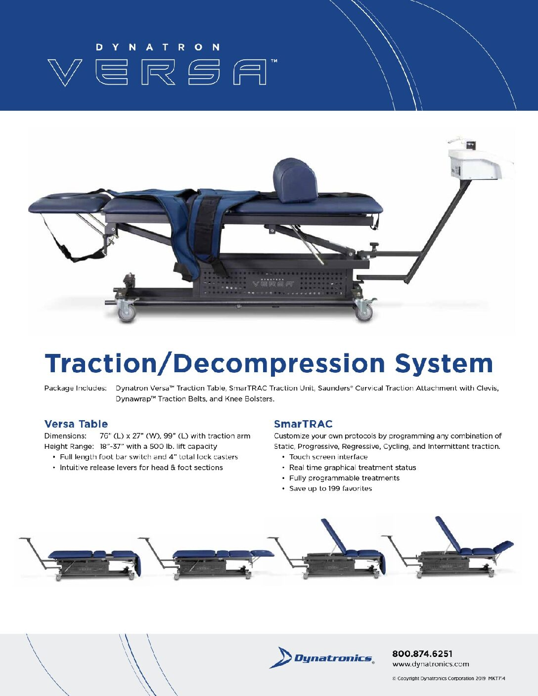 DYNATRONICS VERSA 4 SECTION HI LO TRACTION TABLE